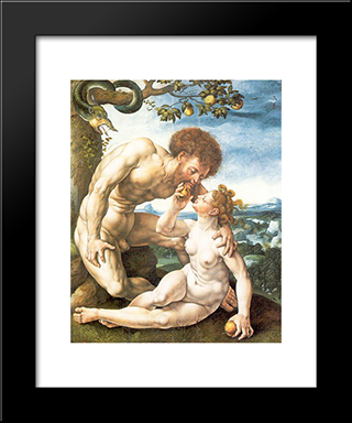 Adam And Eve: Modern Black Framed Art Print by Mabuse