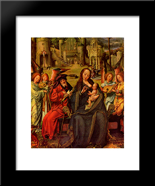 Holy Family With St. Catherine And St. Barbara: Modern Black Framed Art Print by Mabuse
