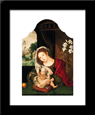 Madonna And Child Playing With The Veil: Modern Black Framed Art Print by Mabuse