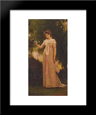A Girl In A Garden: Modern Black Framed Art Print by Marcus Stone