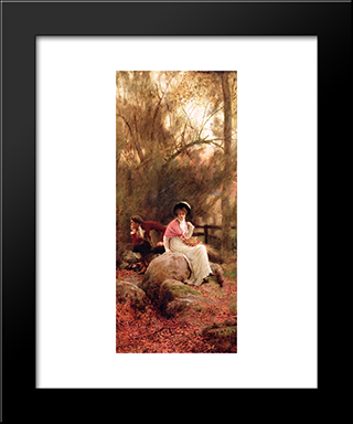 A Lovers' Spat: Modern Black Framed Art Print by Marcus Stone