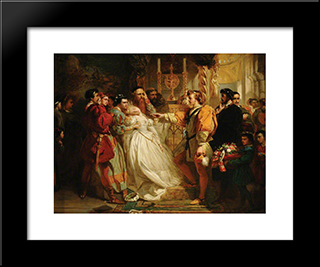 Claudio, Deceived By Don John, Accuses Hero: Modern Black Framed Art Print by Marcus Stone