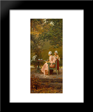 Good Friends: Modern Black Framed Art Print by Marcus Stone