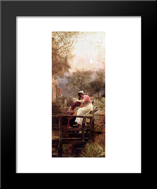 Lovers Embracing By Moonlight: Modern Black Framed Art Print by Marcus Stone