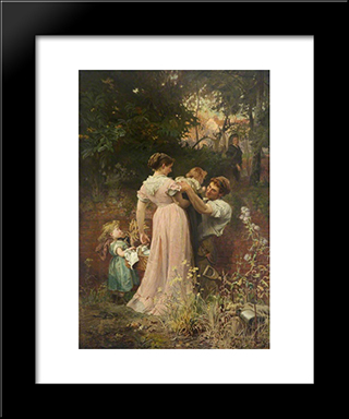 My Lady Is A Widow And Childless: Modern Black Framed Art Print by Marcus Stone