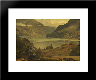 The Lake Of Brienz: Modern Black Framed Art Print by Marcus Stone