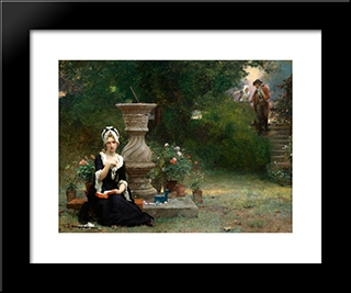 The Soldier'S Return: Modern Black Framed Art Print by Marcus Stone