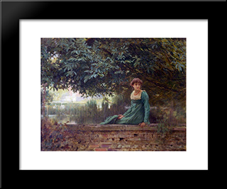 Waiting: Modern Black Framed Art Print by Marcus Stone
