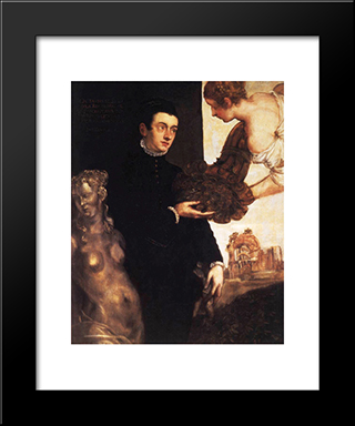 Portrait Of Ottavio Strada (Attributed): Modern Black Framed Art Print by Marietta Robusti