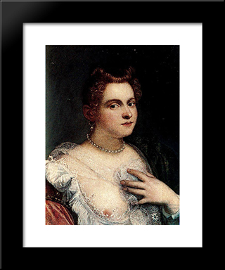 Self-Portrait (Or Venetian Woman; Attributed): Modern Black Framed Art Print by Marietta Robusti