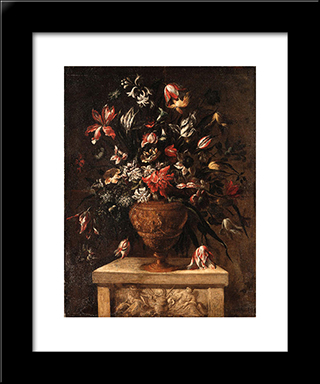 Glowers In A Sculpted Vase On A Stone Plinth: Modern Black Framed Art Print by Mario Nuzzi