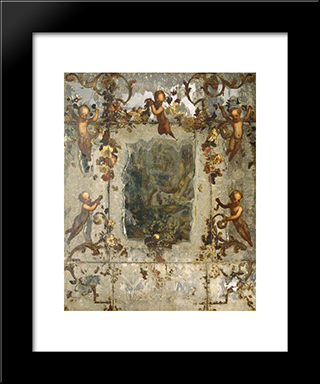 Mirror Decorated With Putti, Flowers And Acanthus Scrolls: Modern Black Framed Art Print by Mario Nuzzi