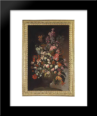 Roses, Tulips, Chrysanthemums And Other Flowers, In A Sculpted Urn, On An Earthen Bank: Modern Black Framed Art Print by Mario Nuzzi