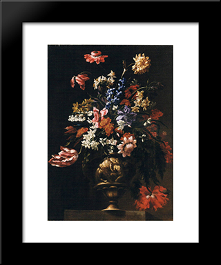 Still Life With A Vase Of Flowers: Modern Black Framed Art Print by Mario Nuzzi