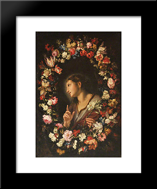 The Angel Of The Annunciation In A Garland Of Flowers: Modern Black Framed Art Print by Mario Nuzzi
