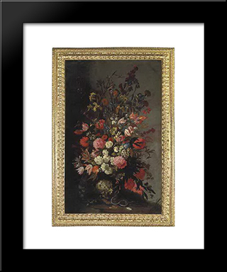 Tulips, Lilies, Irises And Other Flowers, In A Sculpted Urn, With A Snake And A Moth, On An Earthen Bank: Modern Black Framed Art Print by Mario Nuzzi