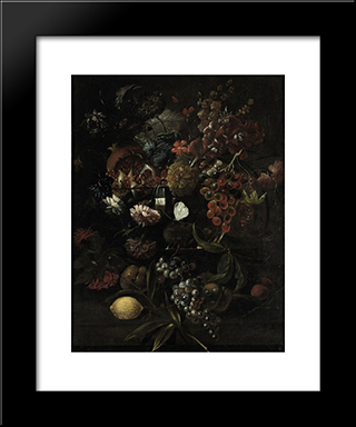 Various Flowers In A Glass Vase With Blue Grapes, Peaches And A Lemon, All On A Ledge: Modern Black Framed Art Print by Mario Nuzzi
