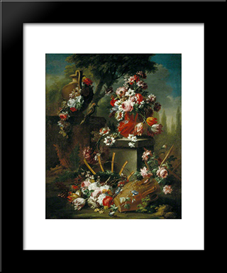 Vase And Flowers: Modern Black Framed Art Print by Mario Nuzzi