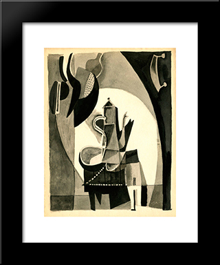 Cafetiere: Modern Black Framed Art Print by Mario Prassinos