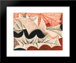 Composition: Modern Black Framed Art Print by Mario Prassinos