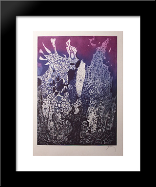 Jardin La Nuit: Modern Black Framed Art Print by Mario Prassinos