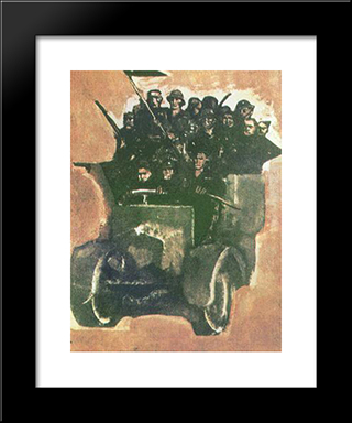Action Team: Modern Black Framed Art Print by Mario Sironi