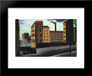 Cityscape With Truck: Modern Black Framed Art Print by Mario Sironi