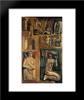 Composition: Modern Black Framed Art Print by Mario Sironi