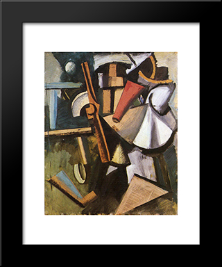 Composition With Propeller: Modern Black Framed Art Print by Mario Sironi