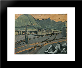 Composition With Train And Figure: Modern Black Framed Art Print by Mario Sironi