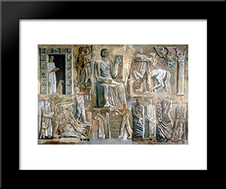 Corporative Italy: Modern Black Framed Art Print by Mario Sironi