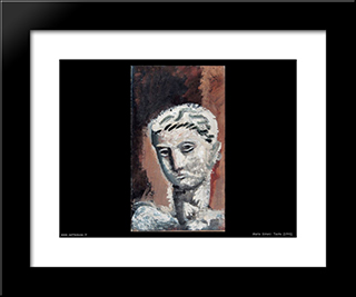 Head: Modern Black Framed Art Print by Mario Sironi