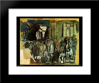 Italy Between The Arts And Sciences: Modern Black Framed Art Print by Mario Sironi
