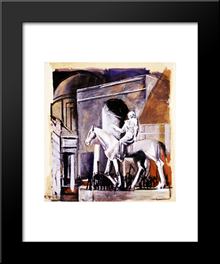 Leader On Horseback: Modern Black Framed Art Print by Mario Sironi