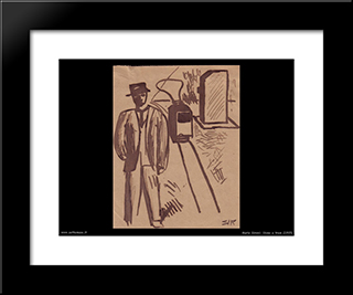 Man And Tram: Modern Black Framed Art Print by Mario Sironi
