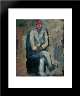 Man Sitting: Modern Black Framed Art Print by Mario Sironi