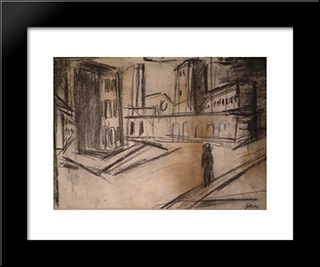 Not Identified: Modern Black Framed Art Print by Mario Sironi