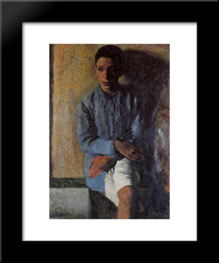 Portrait Of Brother Ettore: Modern Black Framed Art Print by Mario Sironi
