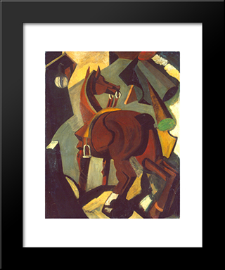Saddled Horse: Modern Black Framed Art Print by Mario Sironi
