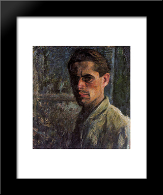 Self - Portrait: Modern Black Framed Art Print by Mario Sironi