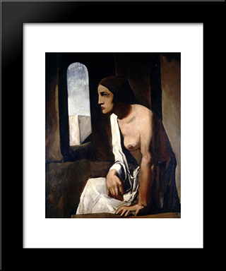 Solitude: Modern Black Framed Art Print by Mario Sironi