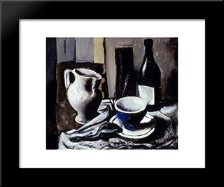 Still Life With Blue Cup: Modern Black Framed Art Print by Mario Sironi
