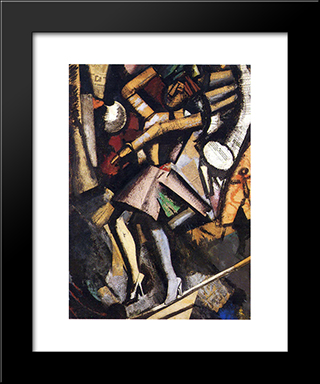 The Ballerina: Modern Black Framed Art Print by Mario Sironi