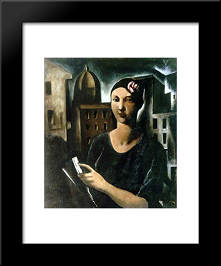 The Beauty Of Sestiere. Woman With Flower: Modern Black Framed Art Print by Mario Sironi