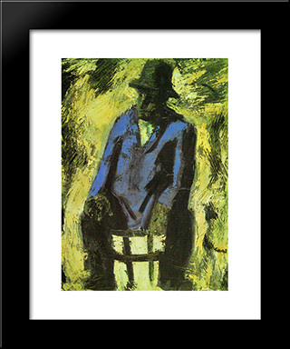 The Blue Jacket: Modern Black Framed Art Print by Mario Sironi