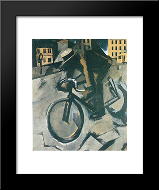 The Cyclist: Modern Black Framed Art Print by Mario Sironi