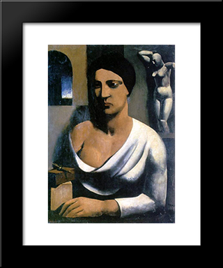 The Model Of The Sculptor: Modern Black Framed Art Print by Mario Sironi