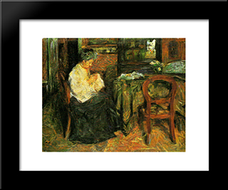 The Mother Sews: Modern Black Framed Art Print by Mario Sironi