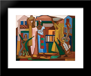 Composition With Figures: Modern Black Framed Art Print by Mario Zanini