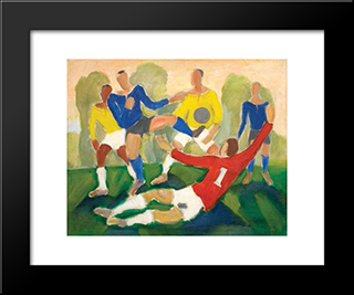 Football: Modern Black Framed Art Print by Mario Zanini